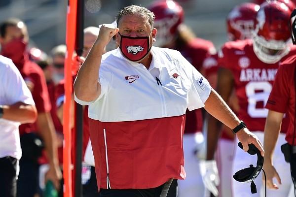 Arkansas football coach Sam Pittman reacts to a play during the Razorbacks' season opener against No. 4 Georgia on Sept. 26, 2020 in Fayetteville.