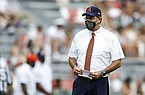 Auburn head coach Gus Malzahn before the start of an NCAA college football game against Kentucky on Saturday, Sept. 26, 2020 in Auburn, Alabama. (AP Photo/Butch Dill)