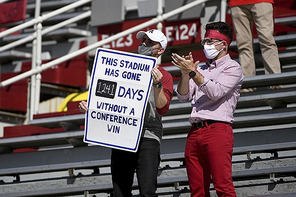 Arkansas fans hold up a sign displaying how many days the Razorbacks have gone since an SEC home victory during a game against Georgia on Saturday, Sept. 26, 2020, in Fayetteville. Arkansas' last SEC victory at home came in November 2016 against Florida. (AP Photo/Michael Woods)