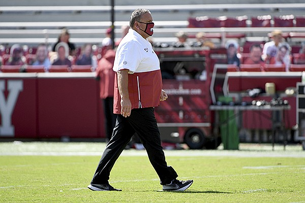 Arkansas football coach Sam Pittman is shown prior to a game against Georgia on Saturday, Sept. 26, 2020, in Fayetteville. (AP Photo/Michael Woods)