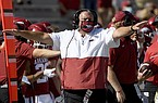 Arkansas football coach Sam Pittman is shown during a game against Georgia on Saturday, Sept. 26, 2020, in Fayetteville. (AP Photo/Michael Woods)