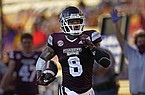Mississippi State running back Kylin Hill (8) carries for a touchdown in the second half an NCAA college football game against LSU in Baton Rouge, La., Saturday, Sept. 26, 2020. Mississippi State won 44-34. (AP Photo/Gerald Herbert)