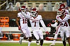 Arkansas safety Joe Foucha (7) celebrates after intercepting a pass during a game against Mississippi State on Saturday, Oct. 3, 2020, in Starkville, Miss.
