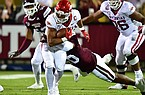 Arkansas running back Rakeem Boyd carries the ball during a game against Mississippi State on Saturday, Oct. 3, 2020, in Fayetteville.