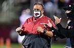 Arkansas coach Sam Pittman looks toward the action Saturday, Oct. 3, 2020, at Mississippi State.