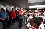 Arkansas coach Sam Pittman speaks to his players following a 21-14 victory over Mississippi State on Saturday, Oct. 3, 2020, in Starkville, Miss.