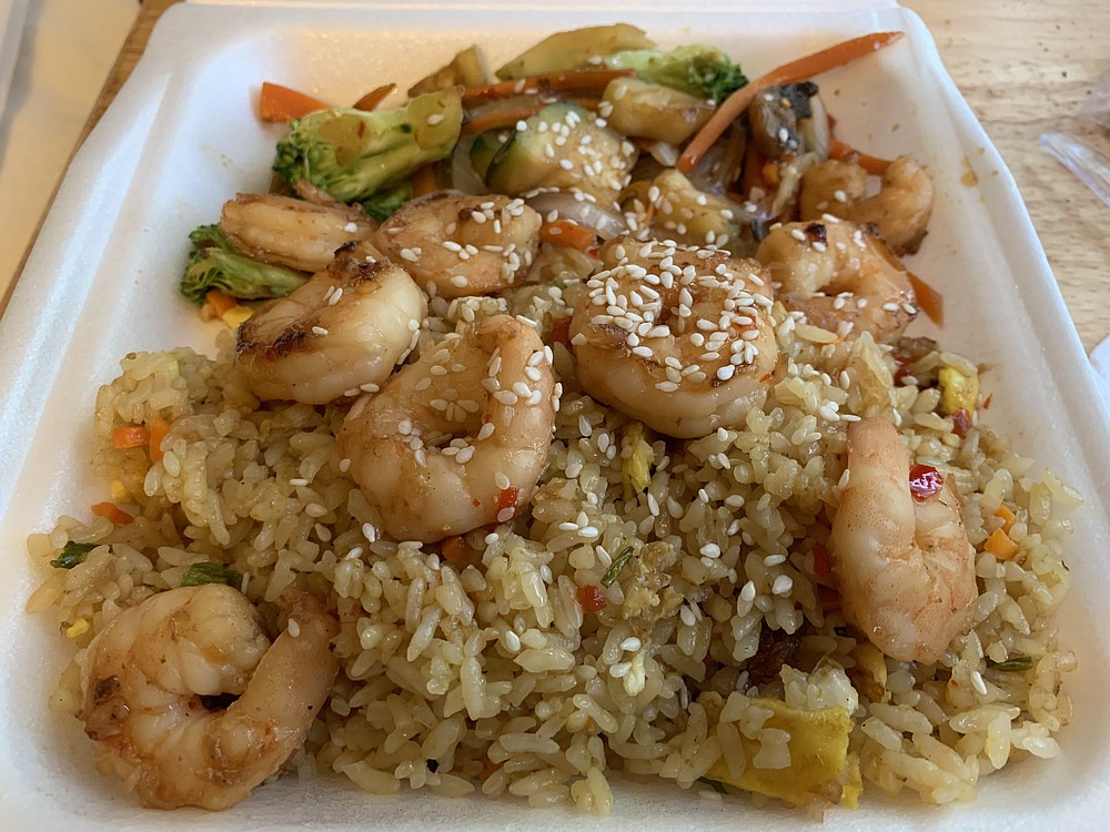 Hibachi Shrimp over fried rice with vegetables from Ocko's Hibachi Island.