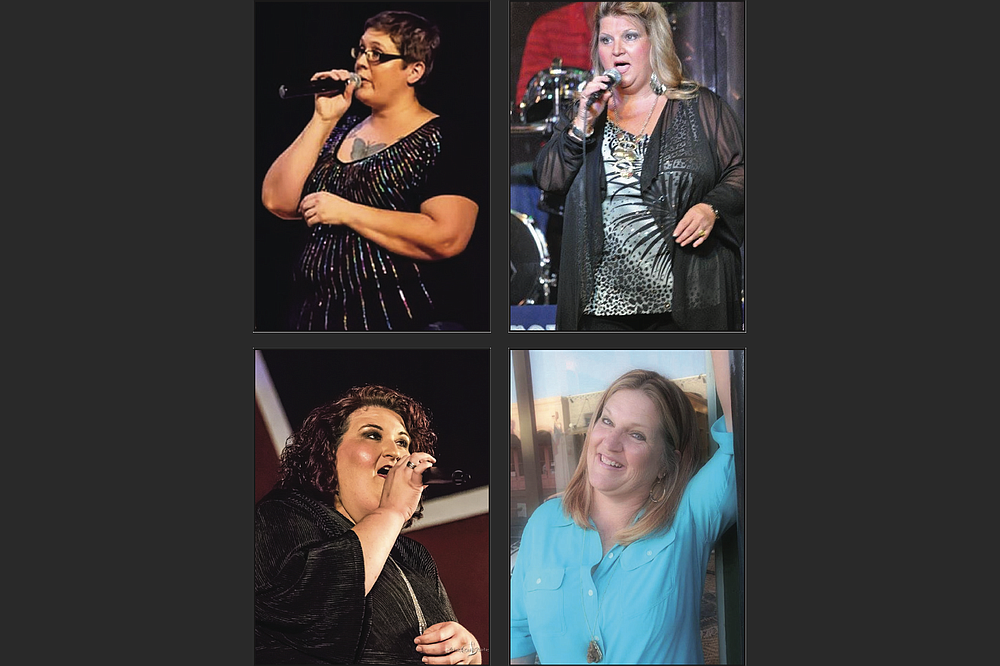 Susan Tolin (clockwise from top left), Tammy Fogle, Terry Lyne Moore and April Sanders sing songs by legendary women of country music for the KTVE Boomtown Opry Saturday in El Dorado.