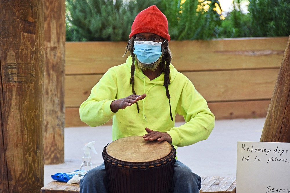 Searcy Ewell leads the Drum Circle at 10 a.m. on Saturdays at Bernice Garden in Little Rock.