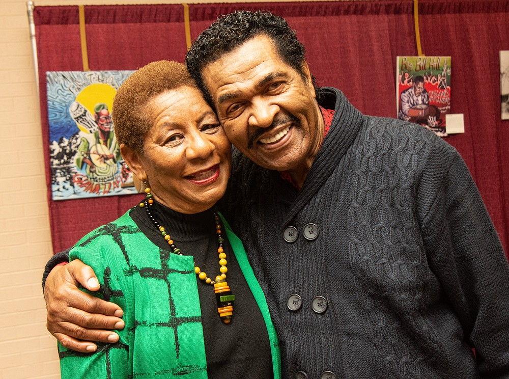 Bobby Rush, seen here with Pine Bluff Mayor Shirley Washington, will be among the acts featured in a virtual edition of The King Biscuit Blues Festival this weekend.