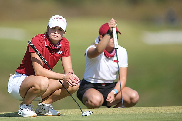 Arkansas golfer Brooke Matthews waits to putt on the first hole green Wednesday, Oct. 7, 2020, during the third day of the inaugural Blessings Collegiate Invitational at the Blessings Golf Club in Johnson.