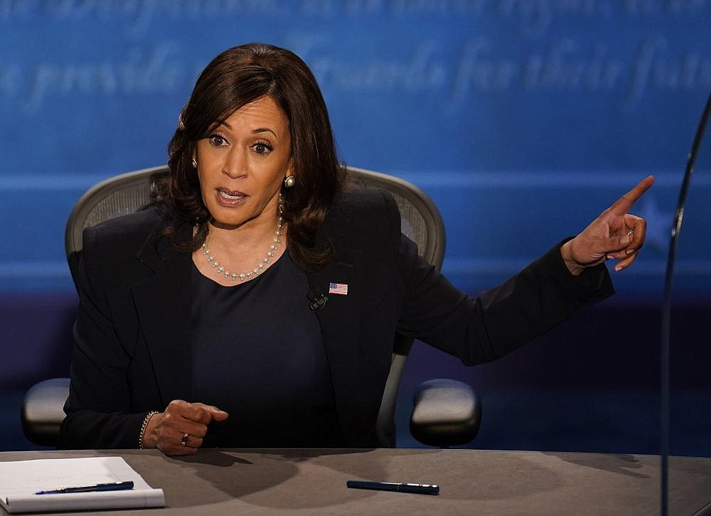 Democratic vice presidential candidate Sen. Kamala Harris responds to remarks by Vice President Mike Pence during their debate Wednesday night. Harris made history as the first Black woman to take part in a vice presidential debate. (AP/Julio Cortez)