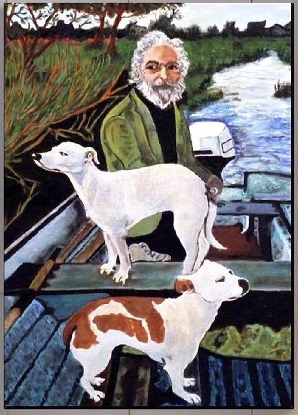 """Nicholas Pileggi's mother painted this portrait of Irish eccentric John Weaving and his two dogs, Brocky and Twiggy. It figures prominently in a scene in """"Goodfellas"""" that features director Martin Scorsese's mother, Catherine."""