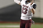 Benton quarterback Garrett Brown (13) throws a pass during the second quarter of Benton's 30-20 win on Friday, Oct. 9, 2020, at War Memorial Stadium in Little Rock.  (Arkansas Democrat-Gazette/Thomas Metthe)