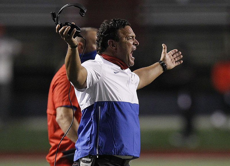 Little Rock Parkview head coach Brad Bolding reacts to a call during the third quarter of Parkview's 30-20 loss to Benton on Friday, Oct. 9, 2020, at War Memorial Stadium in Little Rock.  (Arkansas Democrat-Gazette/Thomas Metthe)