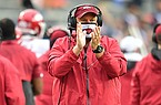 Arkansas coach Sam Pittman is shown during a game against Auburn on Saturday, Oct. 10, 2020, in Auburn, Ala.