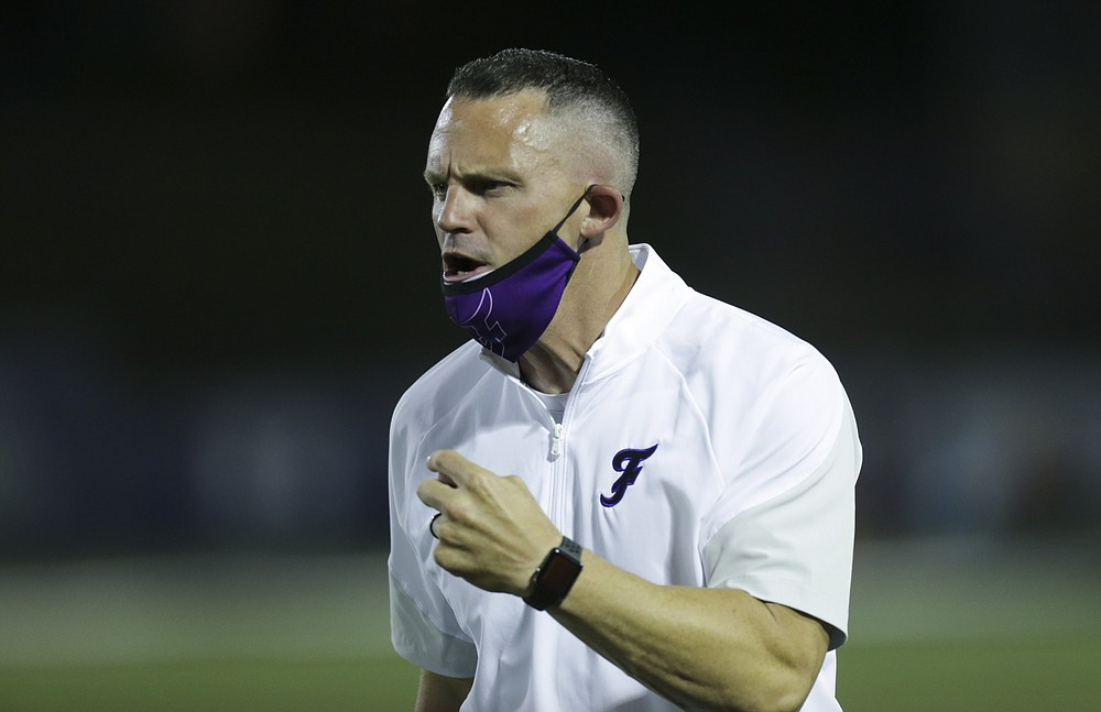 Fayetteville head coach Casey Dick reacts, Friday, October 9, 2020 during a football game at Fayetteville High School in Fayetteville. Check out nwaonline.com/2010010Daily/ for today's photo gallery. (NWA Democrat-Gazette/Charlie Kaijo)