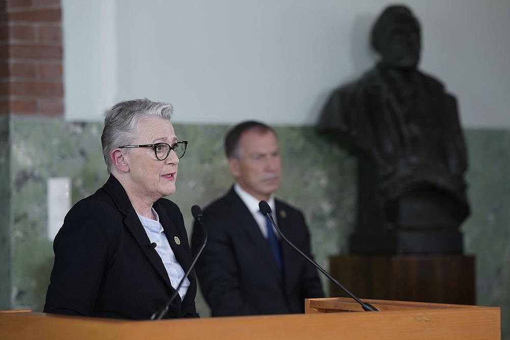 "Berit Reiss-Andersen (left), head of the Nobel Committee, said Friday in Oslo, Norway, that the World Food Program ""has demonstrated an impressive ability to intensify its efforts"" to combat hunger and food insecurity in the face of the coronavirus pandemic.