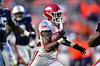 Arkansas running back Trelon Smith carries the ball during a game against Auburn on Saturday, Oct. 10, 2020, in Auburn, Ala.
