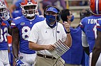 Florida head coach Dan Mullen directs his players against South Carolina during the first half of an NCAA college football game, Saturday, Oct. 3, 2020, in Gainesville, Fla. (AP Photo/John Raoux)