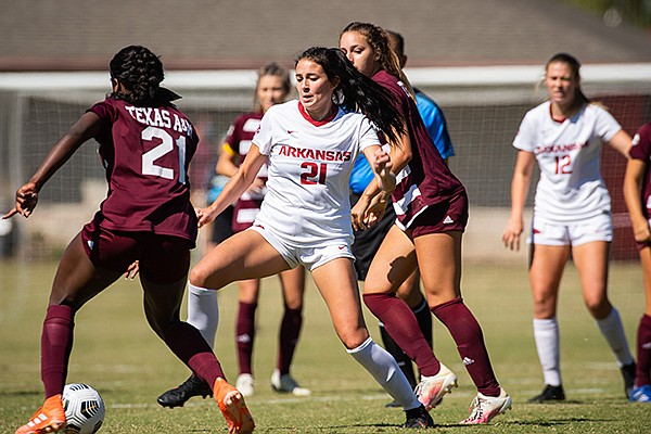 Arkansas' Ava Tankersley (21) is shown during a game against Texas A&M on Sunday, Oct. 4, 2020, in Fayetteville.