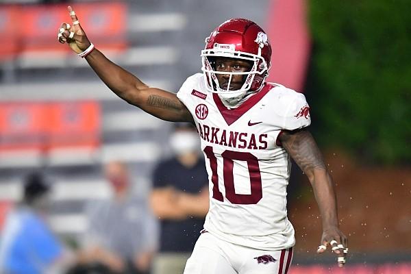 Arkansas receiver De'Vion Warren celebrates after scoring a touchdown at Auburn on Oct. 10, 2020.