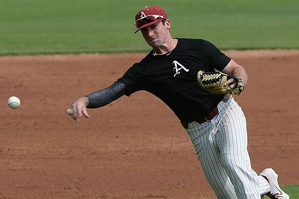 Arkansas infielder Cayden Wallace throws to the plate Friday, Sept. 18, 2020, during practice at Baum-Walker Stadium in Fayetteville.