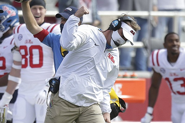 Ole Miss coach Lane Kiffin reacts to a play during a game against Arkansas on Saturday, Oct. 17, 2020, in Fayetteville.