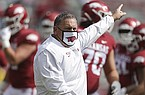 Arkansas coach Sam Pittman is shown prior to a game against Ole Miss on Saturday, Oct. 17, 2020, in Fayetteville.