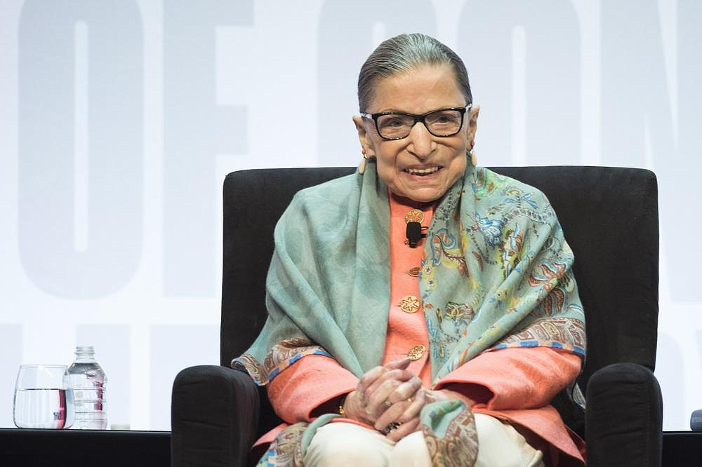 Supreme Court Associate Justice Ruth Bader Ginsburg speaks at the Library of Congress National Book Festival in Washington, Saturday, Aug. 31, 2019. (AP Photo/Cliff Owen)