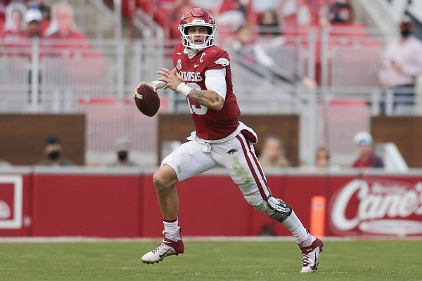 Arkansas quarterback Feleipe Franks (13) looks to pass, Saturday, October 17, 2020 during the second quarter of a football game at Donald W. Reynolds Razorback Stadium in Fayetteville. Check out nwaonline.com/201018Daily/ for the photo gallery.