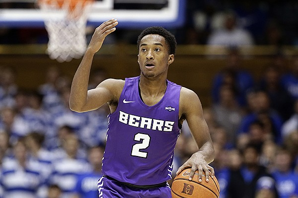 Central Arkansas guard Lewis McDaniel (2) dribbles against Duke during the half of an NCAA college basketball game in Durham, N.C., Tuesday, Nov. 12, 2019. (AP Photo/Gerry Broome)