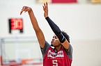 Arkansas guard Moses Moody is shown during an October 2020 practice in Fayetteville.