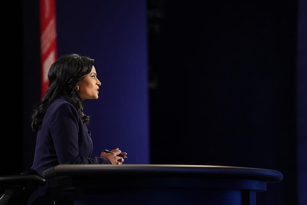 """Kristen Welker of NBC News moderates the presidential debate Thursday night at Belmont University in Nashville, Tenn. Trump offered praise to Welker, saying: """"So far I respect very much the way you are handling this, I have to say."""" (The New York Times/Erin Schaff)"""