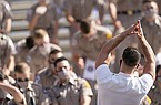 Texas A&M Yell Leader Mason Graham leads members of the Corps of Cadets in a Yell before the start of an NCAA college football game against Florida, Saturday, Oct. 10, 2020. in College Station, Texas. (AP Photo/Sam Craft)