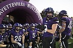 Fayetteville linebacker Kaiden Turner (9) gets ready to lead his teammates onto the field prior to a game against Fort Smith Southside on Friday, Oct. 9, 2020, in Fayetteville.