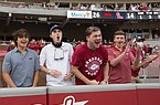 Fans react, Saturday, October 17, 2020 during Arkansas' 33-21 win over Ole Miss at Donald W. Reynolds Razorback Stadium in Fayetteville. Check out nwaonline.com/201018Daily/ for the photo gallery.