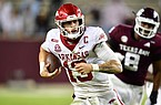 Arkansas quarterback Feleipe Franks runs with the football during a game against Texas A&M on Oct. 31, 2020 in College Station, Texas.
