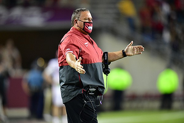 Arkansas coach Sam Pittman is shown during a game against Texas A&M on Saturday, Oct. 31, 2020, in College Station, Texas.
