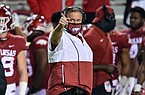 Arkansas coach Sam Pittman points toward the field of play during a game against Tennessee on Nov. 7, 2020 in Fayetteville.