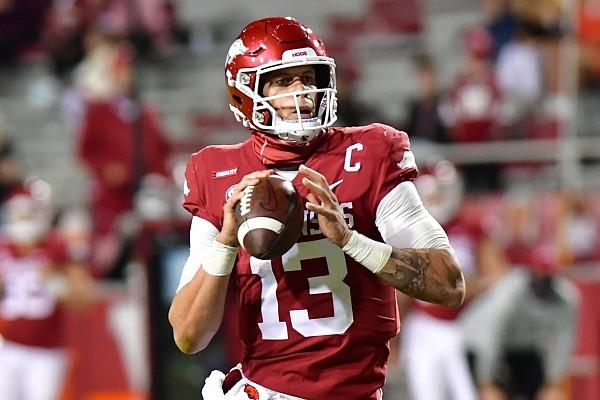 Arkansas quarterback Feleipe Franks looks to pass during a game against Tennessee on Nov. 7, 2020 in Fayetteville.