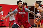 Arkansas forward Vance Jackson is shown during a recent practice in Fayetteville.