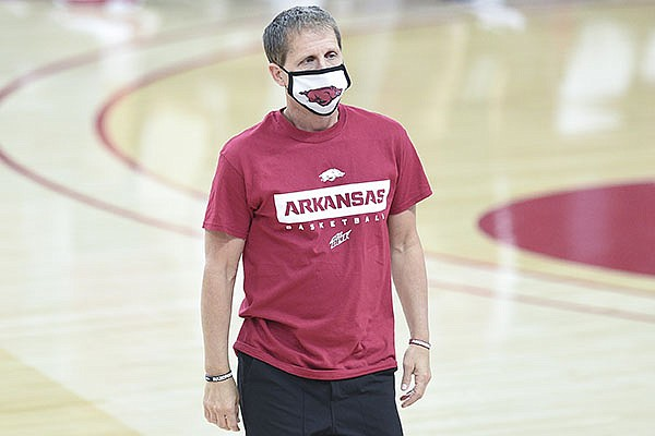 Arkansas basketball coach Eric Musselman is shown during the Razorbacks' Red-White Game on Thursday, Nov. 12, 2020, in Fayetteville.