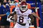 Arkansas receiver Mike Woods runs after catch during the fourth quarter of a game against Florida on Nov. 14, 2020, in Gainesville, Fla.
