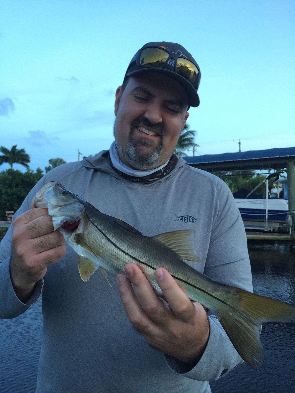 Carlos Rodriguez of Florida Sport Fishing magazine caught several baby snook fishing in the canals and mangrove keys of Matlacha, Fla.