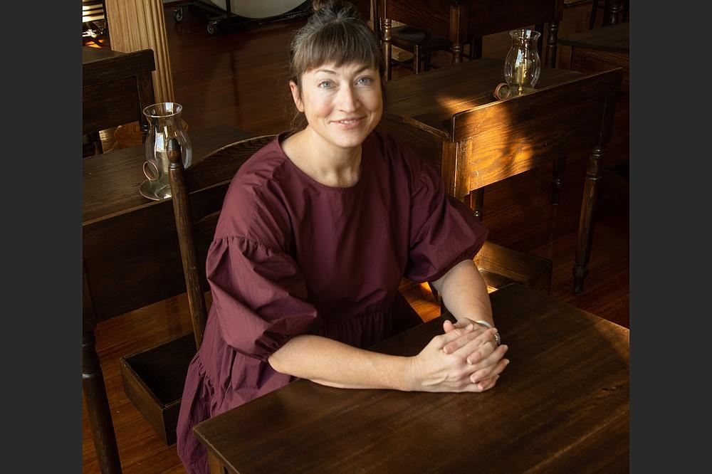 Arkansas writer Jen Fawkes relaxes at the Old State House Museum. (Arkansas Democrat-Gazette/Cary Jenkins)