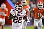 Arkansas running back Trelon Smith runs for an 83-yard touchdown during a game against Florida on Nov. 14, 2020, in Gainesville, Fla.