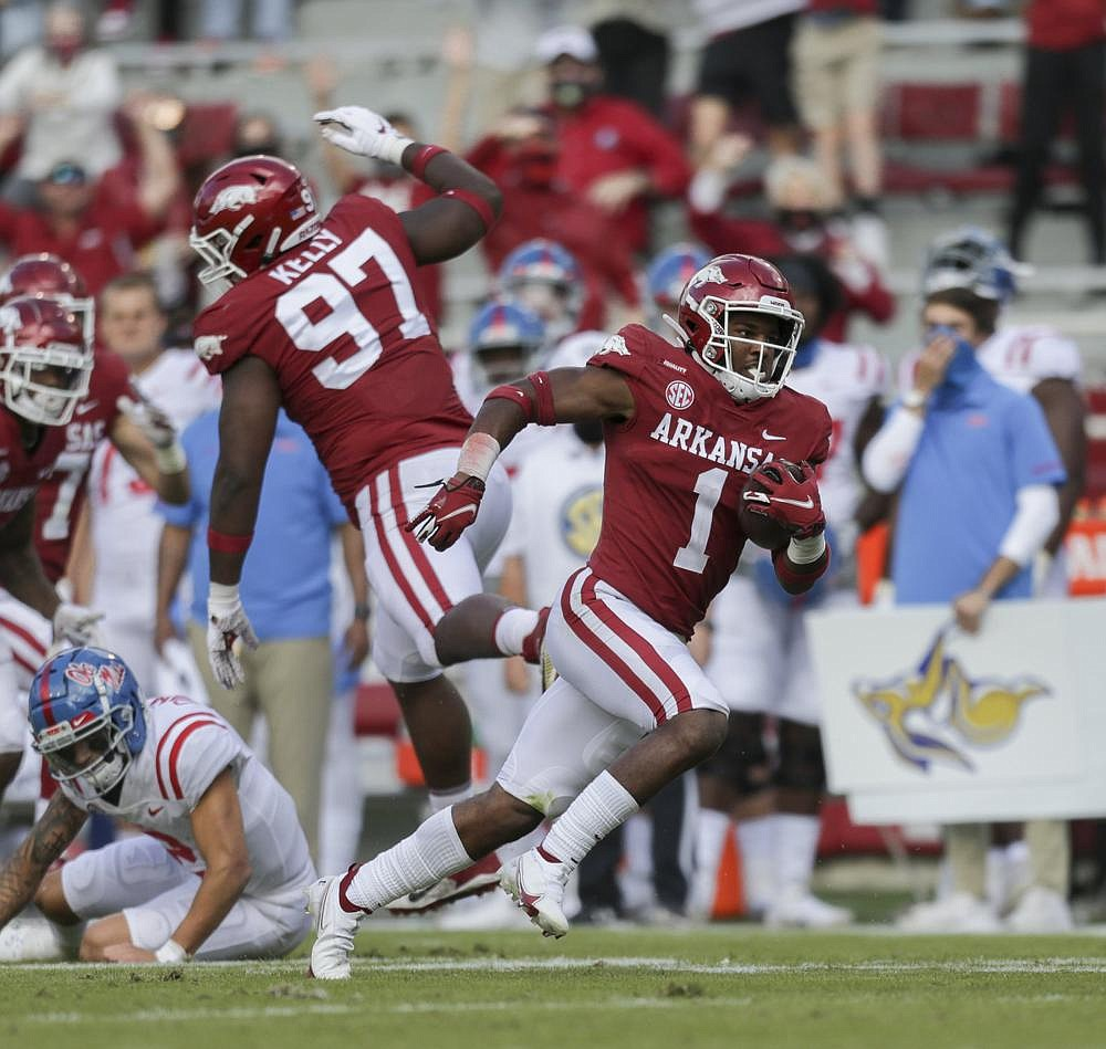 """Redshirt freshman safety Jalen Catalon, who ranks 27th nationally with 10 tackles per game, is gaining a reputation around the SEC as he helps lead the Arkansas defense. """"To me, he's the key to our defense,"""" Arkansas Coach Sam Pittman said. (NWA Democrat-Gazette/Charlie Kaijo)"""