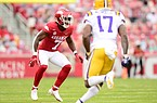 Arkansas defensive back Joe Foucha reads a play during a game against LSU on Nov. 21, 2020, in Fayetteville.