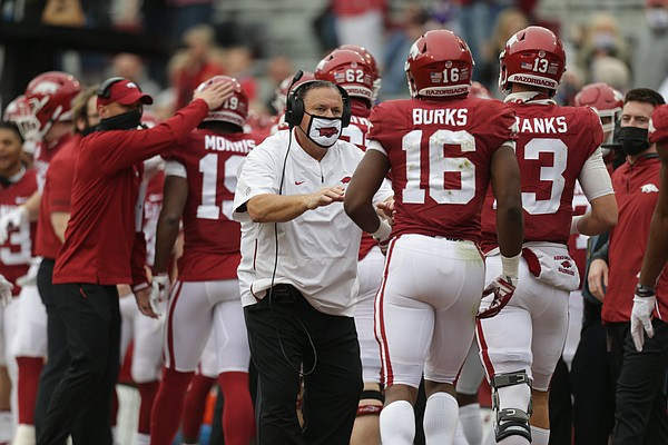 Arkansas head coach Sam Pittman reacts, Saturday, November 21, 2020 during the first quarter of a football game at Donald W. Reynolds Razorback Stadium in Fayetteville.